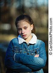 douze, vieux, mignon, année, portrait, girl, outdoors.