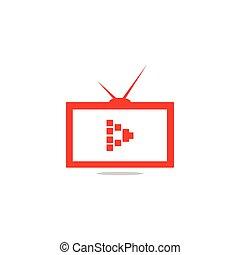 dovádět, grafický, nárys, televize, znak, vector;, šablona, chránit, červeň
