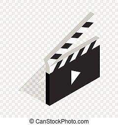 dovádět, knoflík, isometric, nechráněný, clapperboard, ikona