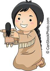 dovádět, panenka, ilustrace, indián, děvče, kůzle
