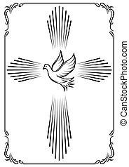 dove., 紋章, 象徴的, 交差点, イラスト, ベクトル, テンプレート, church., design.
