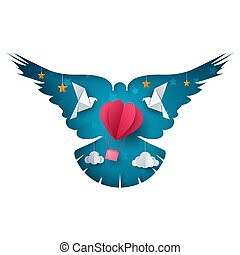Dove, air balloon illustration. Cartoon paper landscape.