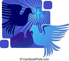 dove and cross symbol