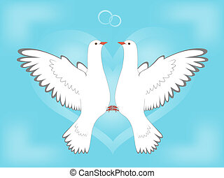 Enamoured pair of pigeons flying to the sky against heart and rings