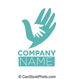 Dove bird symbol of hand in hands vector icon template