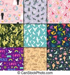 Dove birds vector seamless pattern different style birdie ...