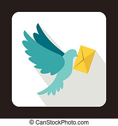 Dove carrying envelope icon, flat style