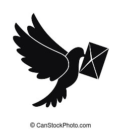 Dove carrying envelope icon, simple style