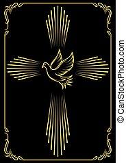 dove., embleem, symbolisch, kruis, illustratie, vector, mal, church., design.