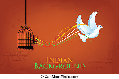 illustration of dove flying out from cage showing freedom of India