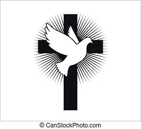Dove flying with a Symbol of Religion. Cross. Dove Of Peace. Vector. Holy Spirit. Church logo.