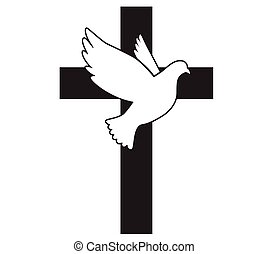 Dove flying with a Symbol of Religion. Cross. Dove Of Peace. Vector illustration. Holy Spirit. Church logo.