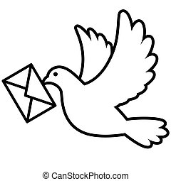 Dove flying with an envelope
