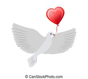 Dove Flying with Heart Balloon Vector Illustration