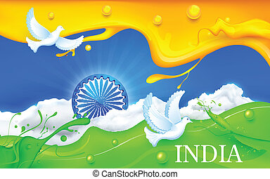 Dove flying with Indian Tricolor Flag