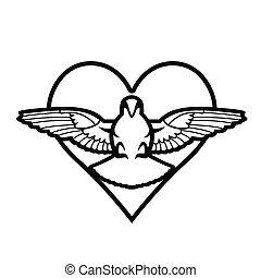 Dove, heart, tattoo