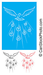Dove Holy spirit sketch, art vector illustration