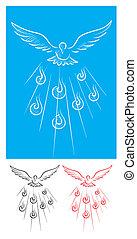Dove Holy spirit sketch, art vector illustration