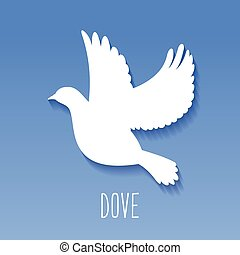 Dove Icon on blue background.