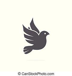 Dove icon on white background