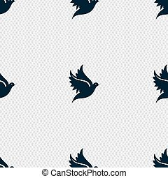 Dove icon sign. Seamless pattern with geometric texture. Vector