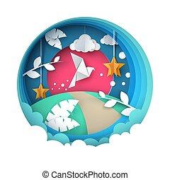 Dove illustration. Cartoon paper landscape.