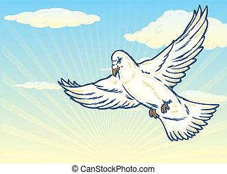 Dove in flight against a bright blue sky illustration