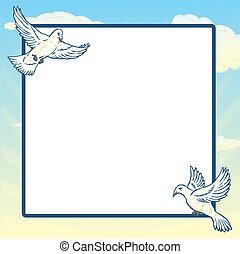 Dove in flight frame design. Vector format fully editable.