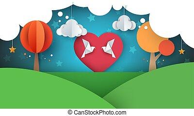 Dove, love illustration. Cartoon paper landscape.