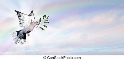 Dove of Peace - Dove Flying with a Green Twig in its Beak ...