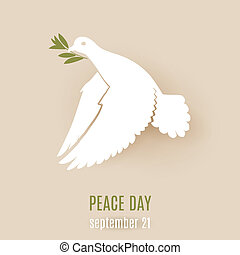 Dove of peace - Design for Peace day with flying white dove...