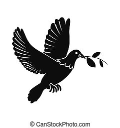 Dove of peace flying with twig olive icon