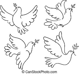 Dove of Peace - Set of vector symbols dove of peace. Black...