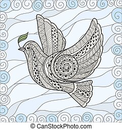 Dove of Peace in the style zentangl