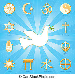Gold symbols of 12 world religions around Dove of Peace with olive branch: Buddhism, Islam, Hindu, Taoism, Christianity, Sikh, Native Spirituality, Confucian, Shinto, Baha'i, Jain, Judaism. Aqua blue and gold ray background. EPS8 compatible.