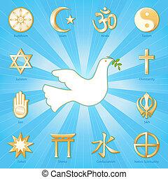 Dove of Peace, Many Faiths - Gold symbols of 12 world...