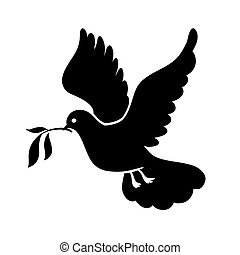 Dove of peace. Pigeon with olive branch. International Day of Peace. Black icon.