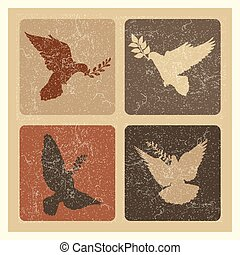 Dove of peace silhouette emblems. Grunge pigeon with branch logo set