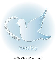 Dove of Peace with olive branch on a blue background