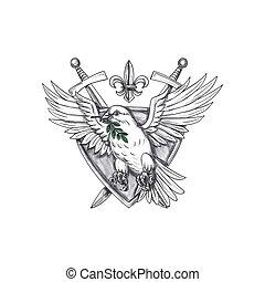 Dove Olive Leaf Sword Crest Tattoo