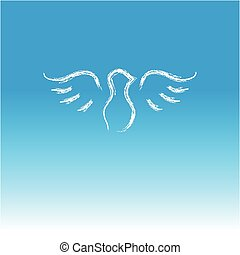 Dove on blue background.