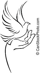 Vector illustration of dove on hand