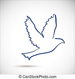 Dove on the gray background