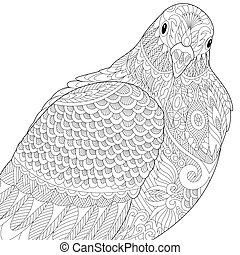Dove or pigeon bird - Coloring page of dove or pigeon bird. ...