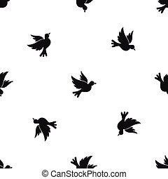 Dove pattern seamless black