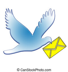Dove Postal - Blue dove postal flight with yellow mail...
