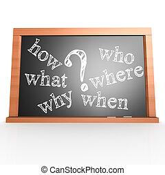 dove, quando, cosa, chi, perché, come, scritto, con, gesso, su, lavagna