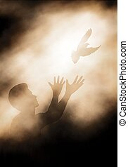 Dove release - Editable vector illustration of a man...