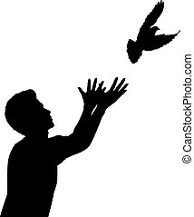 Dove release - Editable vector silhouette of a man releasing...