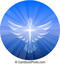 A symbolized vector illustration of a dove and cross representing God's Holy Spirit, on a blue circle with rays of light.